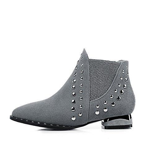Nine Seven Cuero Moda Puntiagudos Botas de Tacón de Grueso con Remache de Invierno para Mujer gris