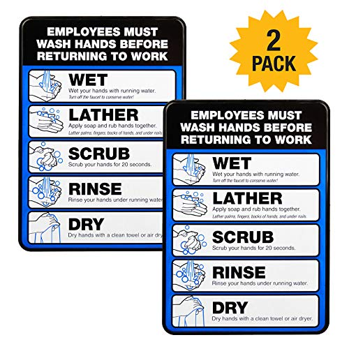 """Employee Must Wash Hand Sign: 5""""x7"""" Plastic Sign for Businesses with Easy Mount Adhesive Strips (Pack of 2)"""