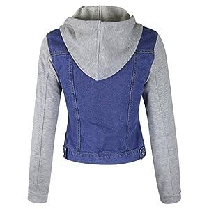 makeitmint Women's Detachable Hooded Contrast Denim Jean Jacket w/Pockets YJH0035-BLUE-LRG