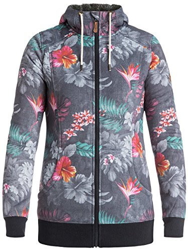 con hawaiian in Printed tropik paradise Donna Sherpa Cappuccio Roxy Frost Zip Felpa e vHX6Atq