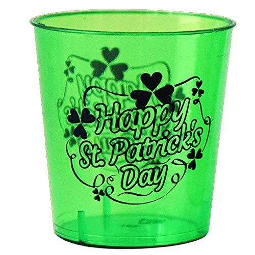 Shot Glasses For St Patrick Day  1 Ounce  Durable Plastic  Green Color  24 Count  Get Drunk With Tiny Shots Of Guinness Whisky amp Other Irish Alcoholic Drinks At A Party