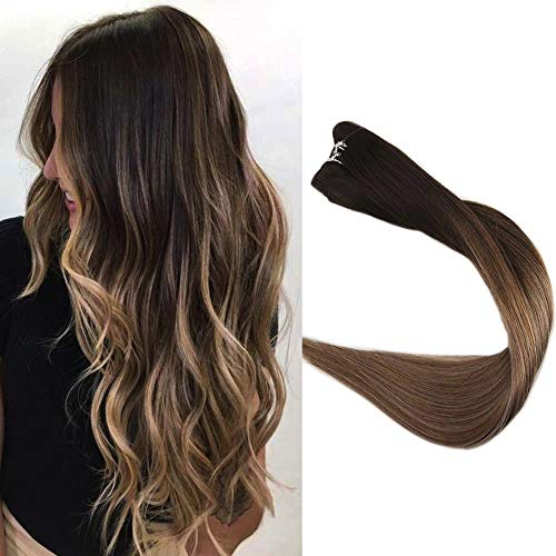 Full Shine 16 inch Hair Weft Ombre Hair Extensions Balayage Sew in Hair Extensions Color #2 Dark Brown Fading to #6 Cheust Brown and #18 Ash Blonde Highlighted Weave Hair 100g Each Bundle