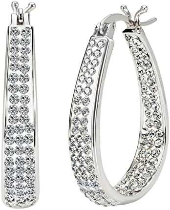JewelrieShop White Gold Plate Oval diamond earrings, Sparkle Rhinestone Hoop Earrings for Women on Wedding