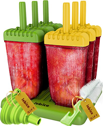 Popsicle Molds Set - BPA Free - 6 Ice Pop Makers + (Ice Cream Pop)