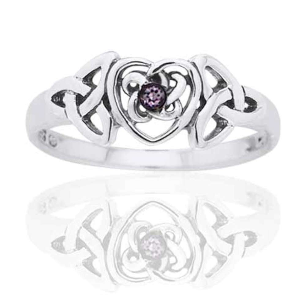 February Birthstone Ring - Sterling Silver Simulated Amethyst Celtic Trinity Knot Heart 8(Sizes 4,5,6,7,8,9,10)