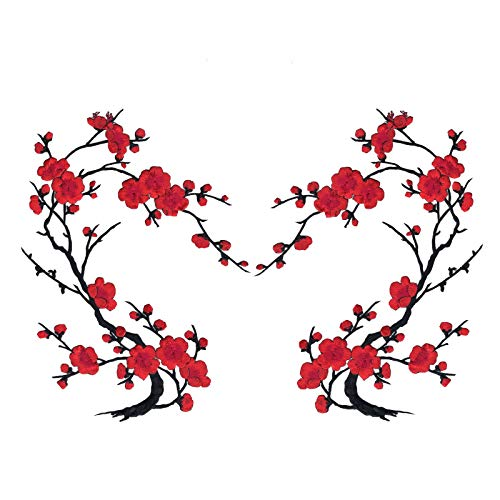 Red Cherry Blossom Flowers Set of Two Embroidered Iron on Sweater T Shirt Jacket Patches