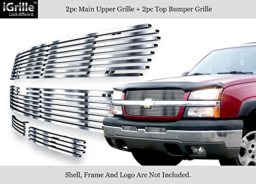 304 Stainless Billet Grille Grill Combo Fits 03-05 Silverado 1500/03-04 2500/3500 #N19-C57676C