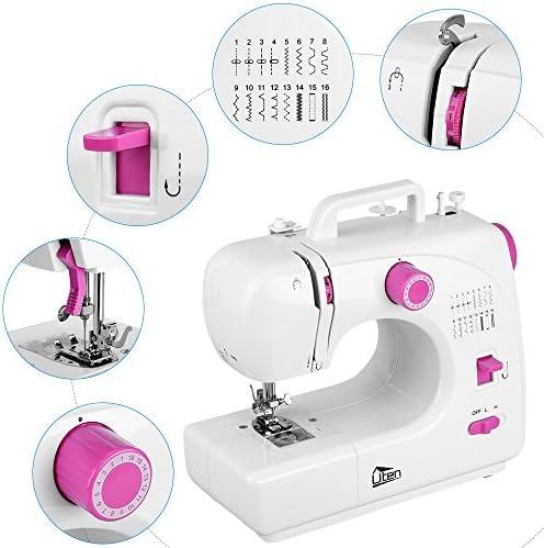 Uten Mini Máquina de Coser Portátil manual Profesional Eléctrica con LED Lámpara 16 Puntadas: Amazon.es: Hogar