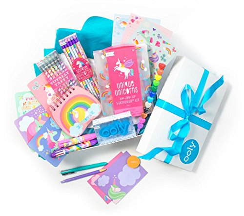 Ooly Unicorn Write Stuff Gift Set - Totally Taffy Scented Gel Pens, Unique Unicorns No.2 Graphite Pencils, ClickIt Eraser, Multi Pen, On-The-Go Stationery Kit and Heart to Heart Stacking Crayon