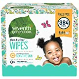 Seventh Generation Free and Clear Baby Wipes with Flip Top Dispenser, 64 Count, 6pack