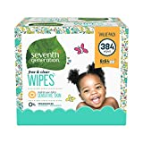 Image of Seventh Generation Free and Clear Baby Wipes with Flip Top Dispenser, 384 Count
