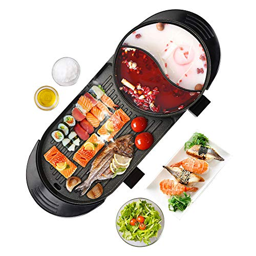 Upgraded 6.56ft Cable Electric Indoor Grill, 2000W Fast Heat Shabu Shabu 2L Hot Pot With Electric Indoor And Ourdoor Korean BBQ Smokeless Grill Made Of Medical Stone Non-Stick Pan For Gatherings