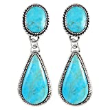 Turquoise Earrings Sterling Silver 925 & Genuine Turquoise