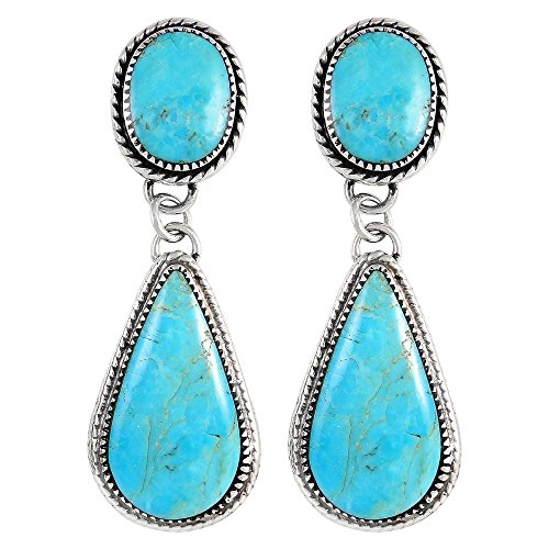 Turquoise Earrings Sterling Silver 925 & Genuine Turquoise by Turquoise Network