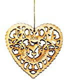 Twisted Anchor Trading Company Our First Christmas Ornament 2018 Heart Shaped Laser Cut Wood Ornament - Comes in an Organza Bag so It's Ready for Giving