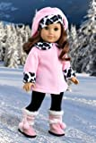 Elegance – Pink fleece coat, matching hat, brown pants and sherpa boots – American Girl Doll Clothes, Baby & Kids Zone