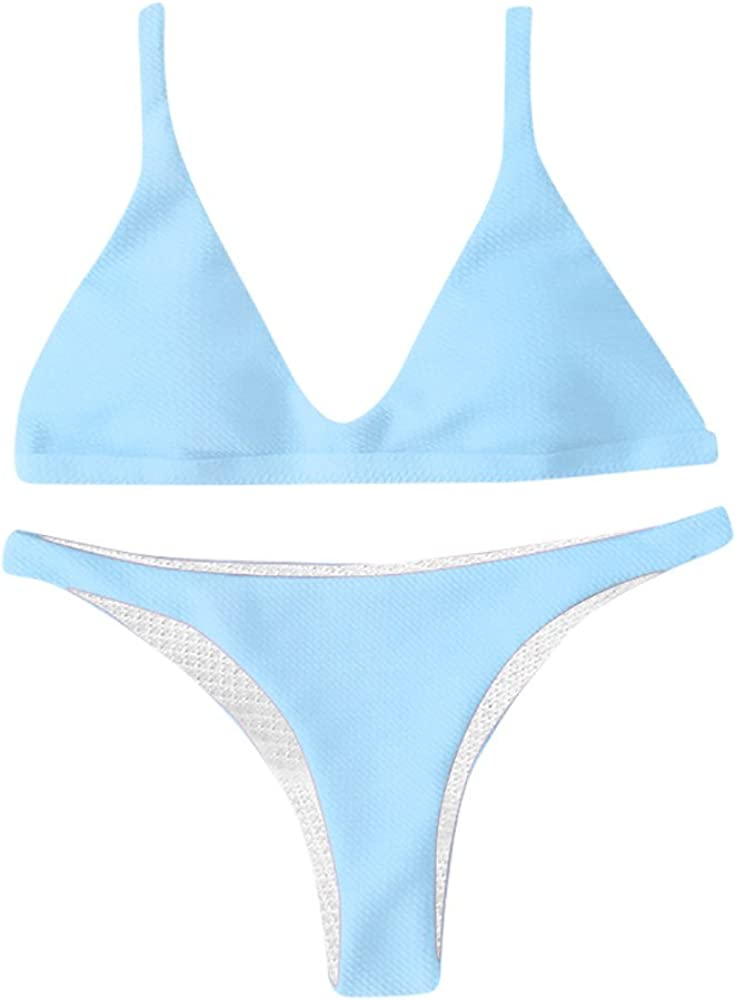 Zweiteiliger schmaler Bikini mit Schulterausschnitt ReooLy ReoolyღDamen-Vintage-Badeanzug mit hoher Taille
