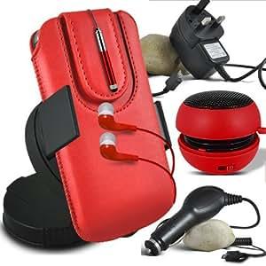 Online-Gadgets UK - Huawei Ascend Y530 protección PU deslizamiento del lazo magnético en caja de la bolsa de liberación rápida con Mini capacitivo Stylus Pen retráctil, 3.5mm en la oreja los auriculares, Mini recargable altavoz de la cápsula, 360 Rotating del parabrisas del coche horquilla del sostenedor del montaje, Micro USB aprobación CE 3 platos principales pines cargador, cargador de coche de 12V Micro USB - Rojo