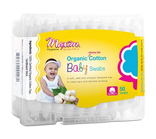 Organic Baby Cotton Swabs by Maxim (50 Count): 100% Natural White Cotton Buds - Uniquely Designed for Babies - Hypoallergenic, Chlorine Free, Chemical Free