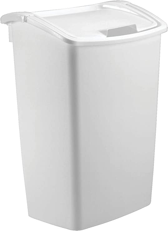 Rubbermaid Dual-Action Swing Lid Trash Can for Home, Kitchen, and Bathroom  Garbage, 11.25 Gallon, White