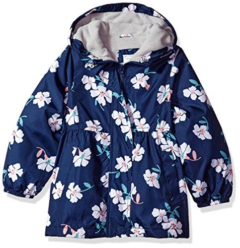 Blue Fleece Carters (Carter's Baby Toddler Girls' Midweight Fleece Lined Windbreaker, Large Floral Blue, 2T)