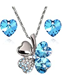 Lucky Love Heart Clover Swarovski Elements Crystal Rhodium Plated Necklace Earrings Set