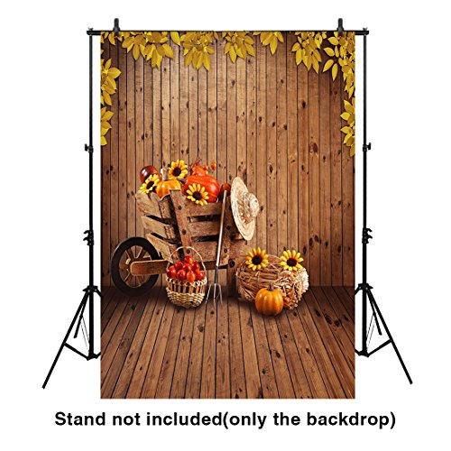 Funnytree 7X5ft Polyester Autumn Backdrop Harvest Fruits Flowers and Pumpkins in Granary Vintage Wooden Plank Background for Photography or Decoration