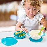 SKK Baby Divided Suction Bowl With Lids Stay Put and Non Spill For