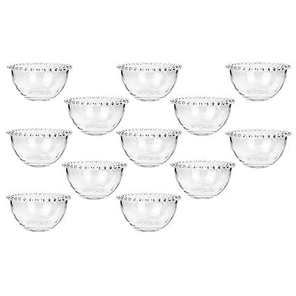 Cuencos de desayuno de cristal Belle Perle con borde de perlas como los usados por la