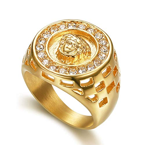 Jewelry Retro Vintage Estate (SAINTHERO Men's Retro Fashion Human Old Man Head Diamond Hollow Carved Gold Plated Stainless Steel Religious Rings)