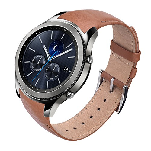 {ZERO GAPS design} Gear S3 Bands/Gear S3 Classic Watch Band, VIGOSS 22mm Women Men Business Genuine Leather Band Replacement with Stainless Steel Buckle for Samsung Gear S3 Smartwatch (Brown) by VIGOSS