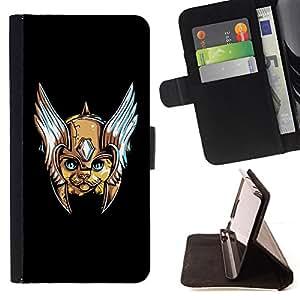 BullDog Case - FOR/Samsung Galaxy S5 Mini, SM-G800 / - / Space Cat Captain Hero /- Monedero de cuero de la PU Llevar cubierta de la caja con el ID Credit Card Slots Flip funda de cuer