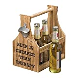 The Americana BEER IS CHEAPER THAN THERAPY, 6 Bottle Caddy Plus Bottle Opener, 6 Compartments, Carry Handle, Silo Style, Flat Panel Wood, Metal, 11 L x 6 3/4 W x 11 3/8T'', By Whole House Worlds