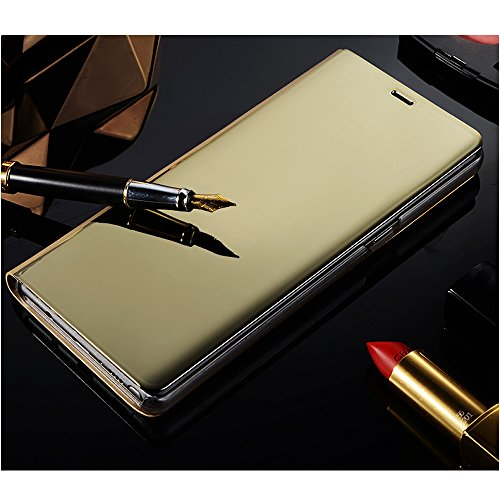 Leather Case with Stand for Huawei Honor V10,Bookstyle Flip Case Cover for Huawei Honor V10,Leecase Mirror Effect Transparent View Standing Function for Huawei Honor V10-Gold by Leecase (Image #1)