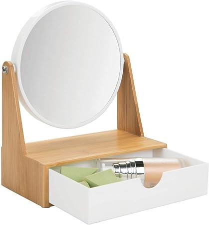 mDesign Specchio bagno girevole Specchio ingranditore da bagno bamb/ù e bianco Specchio portagioielli con cassetto per camera da letto Specchio per trucco da tavolo in plastica e bamb/ù