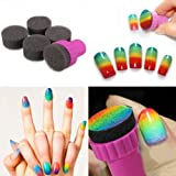 MustMax(TM) Nail Art DIY Design Stamping 1 Stamper 4 Changeable Sponge Shade Set Nail Tool Transfer Makeup Beauty Tools YB309-SZ