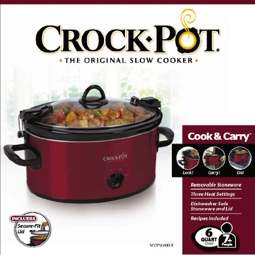 Crock-Pot 6-Quart Cook & Carry Oval Manual Portable Slow Cooker, Red by Crock-Pot (Image #6)