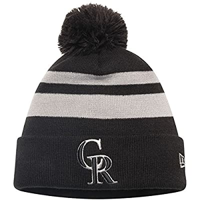 Colorado Rockies New Era Double Stripe Cuffed Knit Hat With Pom Black