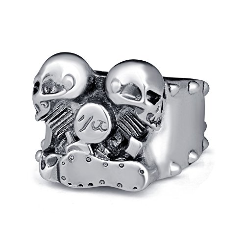 EVBEA® Men Adjustable Jewelry Big Harley Davidson Vintage Biker Punk Skull Rings with Double Skull for Mens (Size 7 to 15) (8)