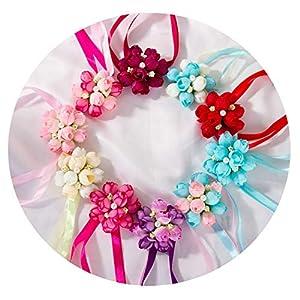 HuaHua-Store 10Pcs Wedding Decoration Wrist Corsages Hand Flower Silk Artificial Brides Bridesmaid Wrist Flower Christmas 51