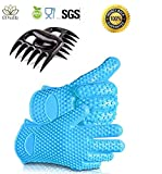 Mulk Best Value 4 IN 1 Set: No.1-Extra thick Silicone BBQ/Cooking Gloves, Meat Shredder pair, extreme heat resistant (Blue)