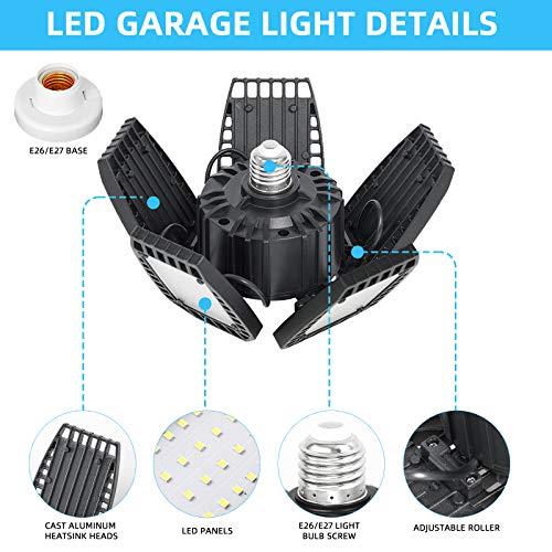 100W LED Garage Lights, 10000LM LED Garage Ceiling Light Fixtures with 5 Adjustable Panels LED Shop Light Super Bright LED Deformed Folding Light E26/E27 LED Light Bulbs for Basement, Workshop, Barn