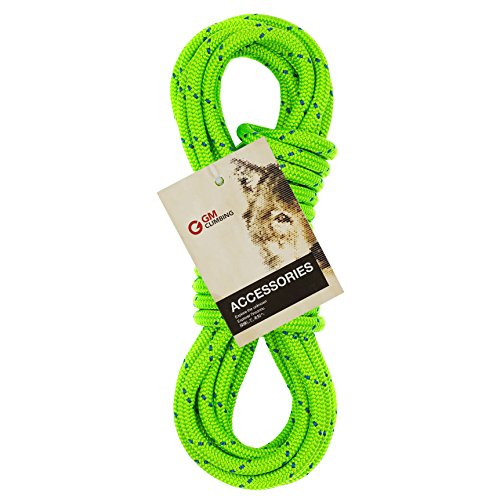 GM CLIMBING 6mm Accessory Cord Rope Double Braid Black Pre Cut CE (Green Flecks, 6mm 20ft)