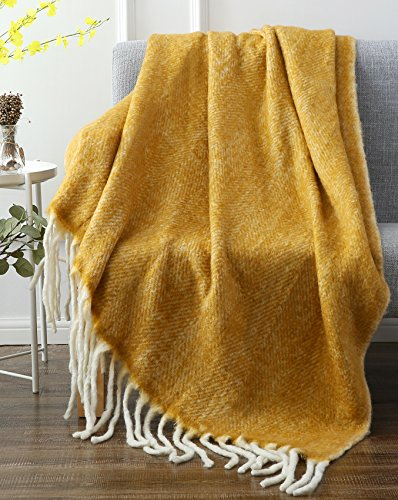 "SLPR Faux Mohair Wool Blend Throw (50"" x 60"", Camel) 