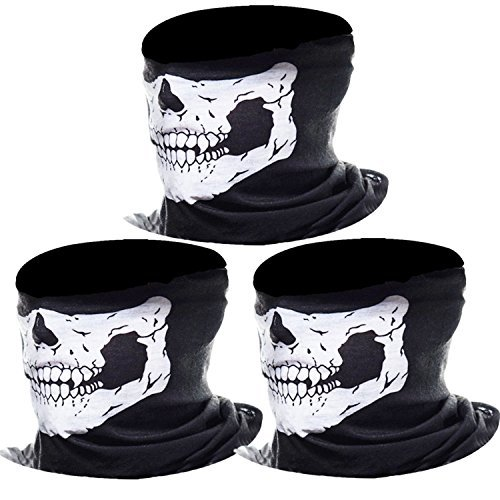 (Skull Mask,3 Pack Seamless Tube Skull Cycling Face Mask-Proof Windproof Motorcycle Half Face Mask - Breathable Windproof Tube Face Mask Half Face for Outdoor Riding (3pack white))