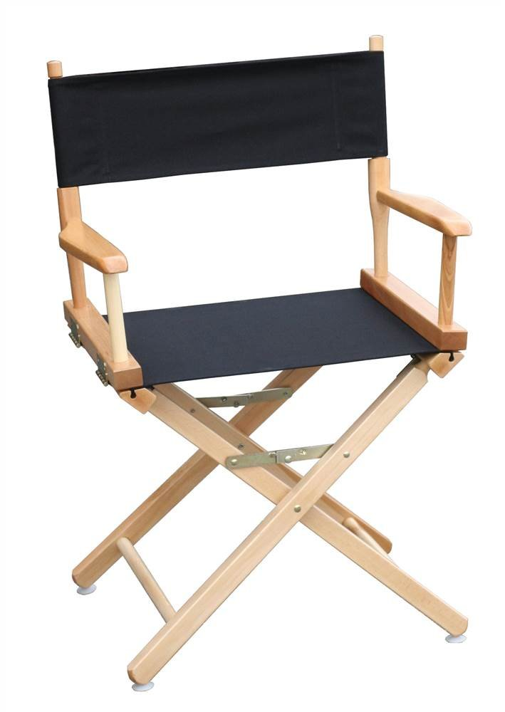 18 in. Commercial Director's Chair w Natural Frame & Black Canvas