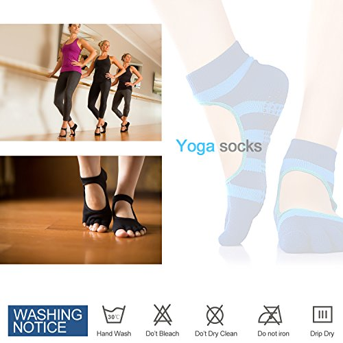 Freehawk Non Slip Skid Yoga Pilates Socks with Grips Cotton Pilates Barre Exrcise Yoga Socks Grip Socks Five Fingers in Blue