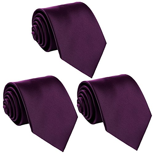 Fortunatever 3 PCS Solid Neckties,Classical Handmade Tie With Gift Box by fortunatever