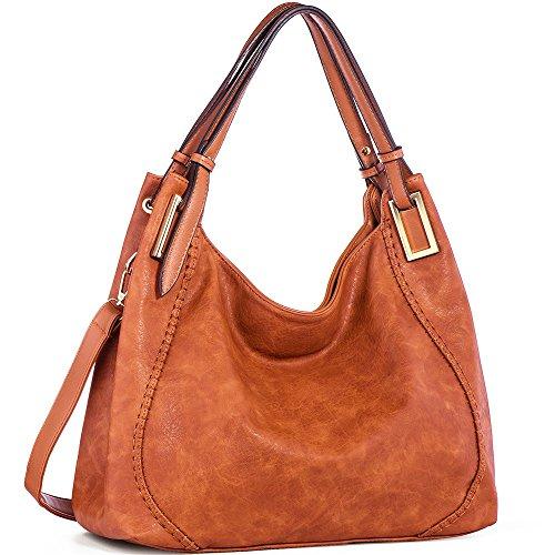 JOYSON Women Handbags PU Leather Shoulder Bags Top-Handle Satchel Tote Bags Purse Brown by JOYSON