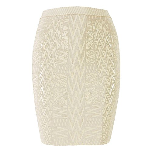 - HLBandage Leather Metallic High Waist Bandage Skirt(M,Beige)